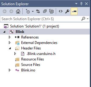 Ecran projet Blink.ino Microsoft Visual Studio - Visual Micro pour coder Arduino avec Visual Studio